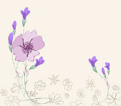 Blooming spring flowers, springtime. bouquet of flower. greeting card