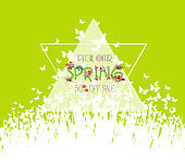 Green spring background. Sale off