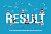 Result achievement concept vector illustration of business people