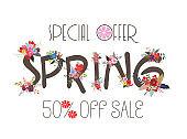 Spring Sale Banner, Sale Poster, Sale Flyer, Sale Vector. 50% Off