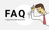 Frequently asked questions concept vector illustration of young smiling man gesturing hands