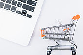 Shopping cart with laptop
