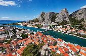 Omis and Cetina river panorama, Dalmatian Coast, Croatia