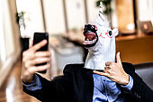 Business man with Unicorn Mask Taking a Selfie at Office