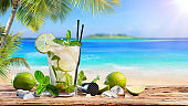 Fresh Mojito Drink On Table In Tropical Beach
