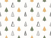 Seamless Pattern with Christmas Trees