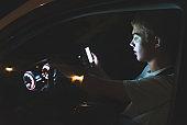 Distracted teenage driver.