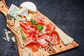 Meat plate of Italian prosciutto crudo or spanish jamon and cheese