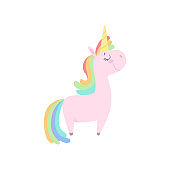 Lovely unicorn, cute fantasy animal character with rainbow hair vector Illustration on a white background