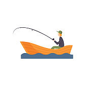 Fisherman sitting on boat with fishing rod in his hand vector Illustration on a white background