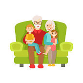 Grandparents And Grandchildren Sitting On The Sofa, Part Of Grandparent  Grandchild Passing Time Together Set  Illustrations