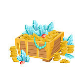 Open Chest With Golden Coins, Blue Crystals And Jewelry, Hidden Treasure And Riches For Reward In Flash Came Design Variation
