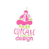 Cupcake icon design, emblem in pink colors for confectionery, candy shop or sweet store vector Illustration on a white background