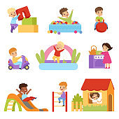 Kids having fun at playground set, boys and girls playing with toys, sliding down slide, climbing ladder vector Illustrations on a white background