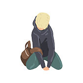 Sad teen boy sitting on floor, depressed lonely teenager vector Illustration on a white background
