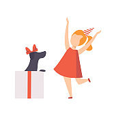 Happy girl rejoicing a puppy who sitting inside a gift box, kid celebrating her Birthday vector Illustration on a white background