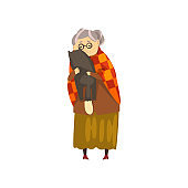 Cute granny hugging her black cat, lonely old lady and her animal pet vector Illustration on a white background