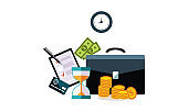 Businessman accessories, hourglass, briefcase, credit card, money, wall clock vector Illustration on a white background