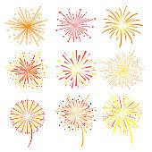 Brightly celebration fireworks set, holiday and party firework design elements vector illustration