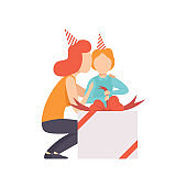 Mom giving large gift box to her little son, kid celebrating his birthday vector Illustration on a white background