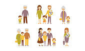 Flat vector set of families. Parents with kids, grandmothers and grandfathers with grandchildren. Cartoon people characters