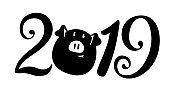 2019 New year inscription. Vector illustration. Pig is a mascote of the year