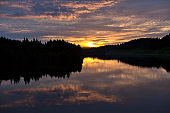 Beautiful Sky with Reflection in Volga River ,Russia
