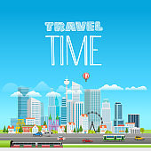 Modern cityscape with different transport. Vector city panarama with logo. Travel time