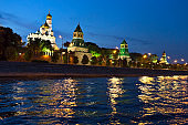 Kremlin Churches and Towers from Moscow River ,Moscow, Russia