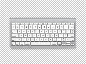 Modern computer keyboard clipart. Vector object isolated on transparent background