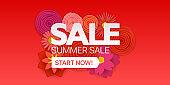 Summer sale promo banner. Vector illustration