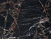 Black marble with white and brown encrustrations