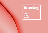 Living Coral paper background with number of color of the year 2019.