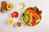 Vegan Rainbow bowl: vegetable meatballs, avocado, sweet potato and salad, top view.