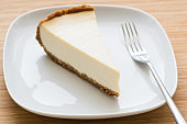 Classic New York cheesecake on white plate