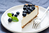 Slice of cheesecake with blueberries and mint leaf on white plate