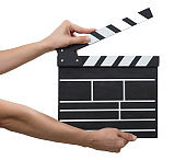 Movie Slate board in hand isolated