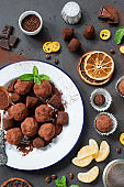 Dark chocolate truffle with orange peel