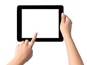 Hand holding blank screen tablet pc on white background