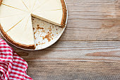 New York cheesecake on wooden background or food background with cheesecake