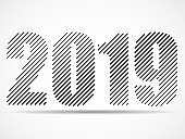 Happy New Year 2019 text design of lines
