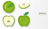 Set of green apples in paper art style , vector , illustration