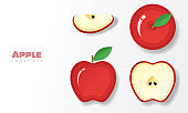 Set of red apples in paper art style , vector , illustration