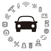 electric car and self-driving car icon set