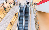 shopping mall, people in escalator, motion blur