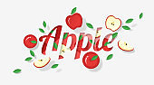 Word apple design decorated with red apple fruits and leaves in paper art style , vector , illustration