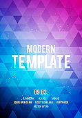 Vector illustration dance party poster background template with glow, lines, highlight and modern geometric shapes. Music event flyer or abstract banner