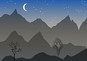 Night vector landscape with mountain, mond, stars and trees. High mountain peaks on a night sky background