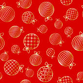 Seamless pattern with Christmas ball Winter festive background on New Year and Christmas ornament for greeting cards Pattern of golden line toy ball Christmas theme pattern wrapper for holiday Vector