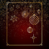 Christmas background Gold balls toys stars snowflakes glitter on a red background A background for Christmas and New Year A pattern of gold lines toys balls snowflakes a Chinese New Year theme Vector